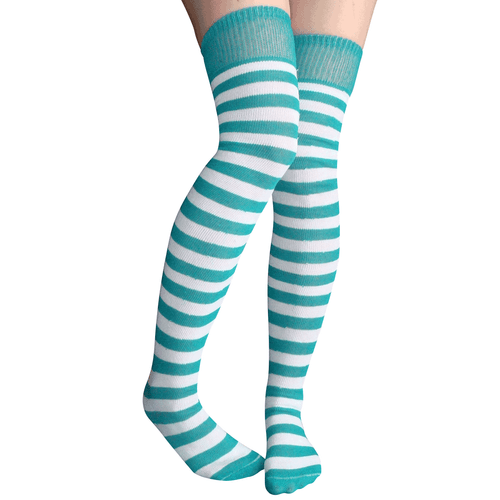 teal/white striped thigh highs