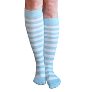 white and light blue striped socks