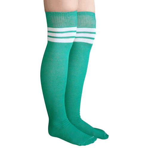 green/white thigh highs