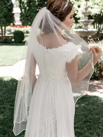Single Tier Bridal Veil | V2091SF