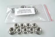 Titanium M10 & M8 exhaust manifold nut set for Lancer EVO 4-9