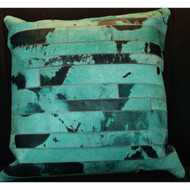Turquois Cow Hide Pillow