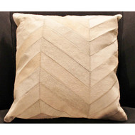 Cream Herringbone Pattern Hide Pillow