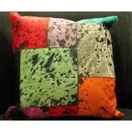 Multi Color Patchwork Cow Hide Pillow
