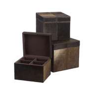 Nested Chestnut Faux Pony Boxes Set