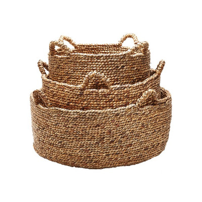 Set Of 3 Natural Low Rise Baskets