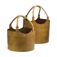 Nested Caramel Leather Bucket Set