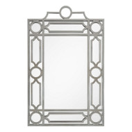 Distressed Silver Leaf Mid Century Mirror