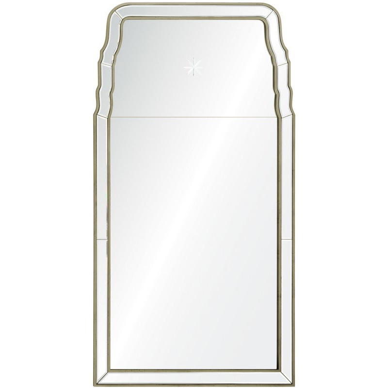 Distressed Silver Leaf Queen Anne Mirror With Etched Star