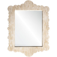White Bone Scalloped Mirror
