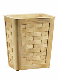Small Woven Teak Wastebasket With Insert