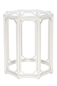 Regeant Octagon Tall End Table With Glass