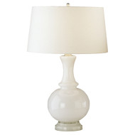 Glass Harriet Table Lamp - Polished Nickel - White Glass