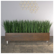 Liriope Grass in Dark Stained Custom Rectangle Planter