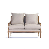 Louis Settee - Natural Linen and Natural Oak