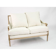 Louis Settee - White Cotton and Natural Oak