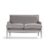 Louis Settee - Grey Linen and Limed Grey Oak
