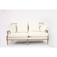 Louis Sofa - White Cotton and Natural Oak