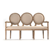 Medallion Settee - Natural Linen and Limed Grey Oak