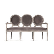 Medallion Settee - Velvet and Limed Grey Oak