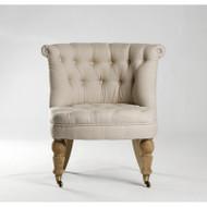 Amelie Slipper Chair - Natural Linen and Natural Oak
