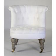 Amelie Slipper Chair - White Linen and Limed Grey Oak
