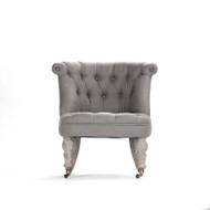 Amelie Slipper Chair - Grey Linen and Limed Grey Oak