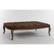 Maison Tufted Ottoman - Aubergine Linen and Limed Grey Oak