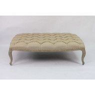 Maison Tufted Ottoman - Hemp Linen and Limed Grey Oak