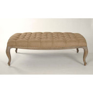 Maison Tufted Ottoman - Burlap and Limed Grey Oak