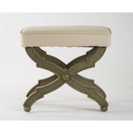 Crescenzo Single Bench - Hemp Fabric Faux Olive Green Finish