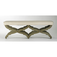 Crescenzo Bench - Hemp Fabric Faux Olive Green Finish