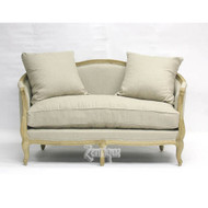 Maison Settee - Natural Linen and Natural Oak
