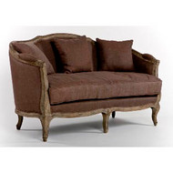 Maison Settee - Aubergine Linen and Limed Grey Oak