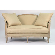 Maison Settee - Hemp Linen and Limed Grey Oak