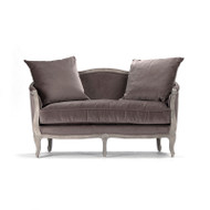 Maison Settee - Velvet and Limed Grey Oak