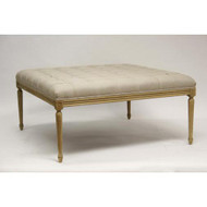 Louis Tufted Ottoman - Natural Linen and Natural Oak