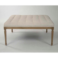 Louis Tufted Ottoman - Off White Cotton Linen and Natural Oak