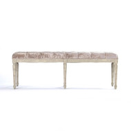 Louie Tufted Bench - Silver Velvet or Crushed Velvet and Oak