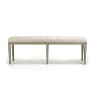 Louis Tufted Bench - Natural Linen and Birch with Faux Olive Green Finish