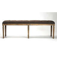 Louie Tufted Bench - Aubergine Linen and Limed Grey Oak