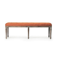 Louie Tufted Bench - Orange Linen and Limed Grey Oak