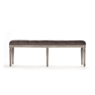 Louis Tufted Bench - Velvet and Limed Grey Oak