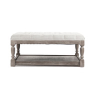 Square Tufted Ottoman - Natural Cream Linen and Limed Grey Oak