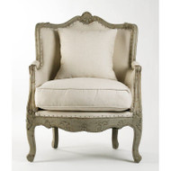 Adele Club Chair - Off White Cotton Fabric with Jute Back in Birch Finish