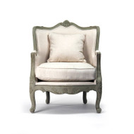 Adele Love Chair - Off White Cotton Fabric in Faux Olive Green Finish