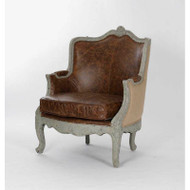 Adele Club Chair - Top Grained Leather Fabric with Jute Back in Birch Finish