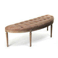 Louie Curved Bench - Copper Linen and Limed Grey Oak