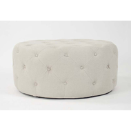Round Tufted Ottoman - Natural Linen