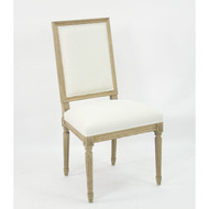 Louis Side Chair - Off White Cotton and Natural Oak
